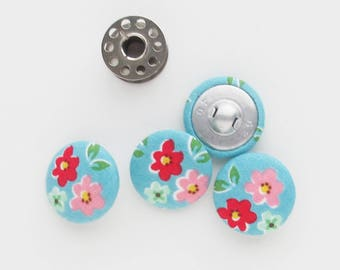 Fabric Covered Buttons 1 Inch | 25mm turquoise feedsack reproduction floral fabric covered shank back buttons.