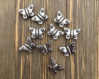 Metal Butterfly Beads- Set of 10