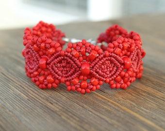Micro-Macrame Beaded Cuff Bracelet - Red