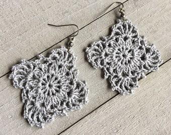 Silver Gray Gypsy Lace Crochet Earrings, Boho Summer Earrings, Crocheted Dangle Earrings, Statement Earrings, Bridesmaid Earrings