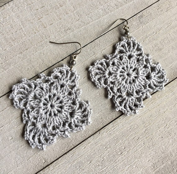 Silver Gray Gypsy Lace Crochet Earrings, Crocheted Dangle Earrings, Statement Earrings, Silver Boho Earrings