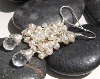 Freshwater Pearl Drop Earrings, White with Quartz Briolettes