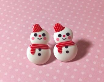 Snowman Stud Earrings, Kawaii Snowman Earrings, Winter Stud Earrings, Smiling Snowman Studs, Cute Snowman Studs, Surgical Steel Studs (SE8)
