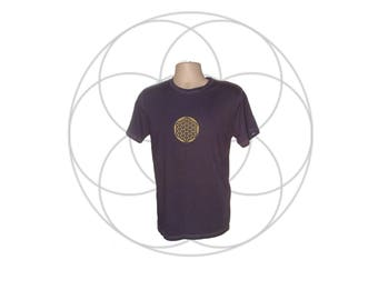 Organic Cotton Tee's for Men- Sacred Geometry clothing, Flower of LIfe Print - organic cotton shirt Hand dyed your choice of 15 colors