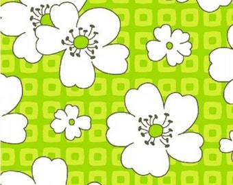 Fat quarter Lime Hibiscus Another Point of View cotton quilt fabric - Windham Fabrics