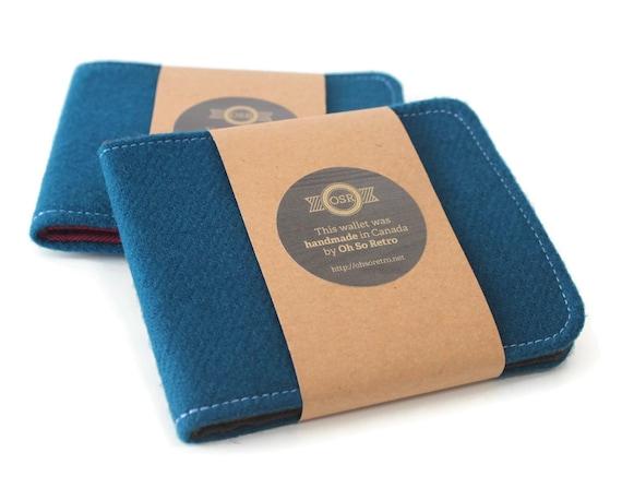 Mens Teal Minimalist Wallet Wallet / Thin Billfold Fabric BiFold / Vegan