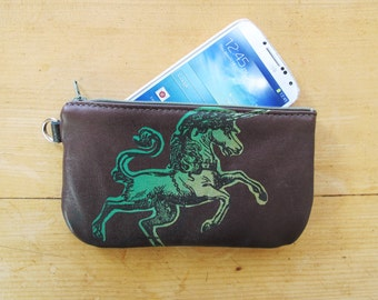 Unicorn Phone Case Pencil Case Dark Brown Recycled Leather
