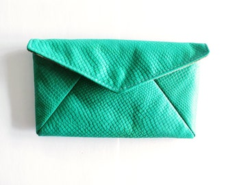 Envelope Clutch Teal Lizard Leather
