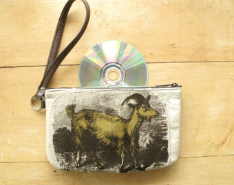 Golden Goat Recycled Leather Wrist Purse