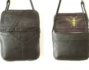 Black Upcycled Leather Small Crossbody Purse