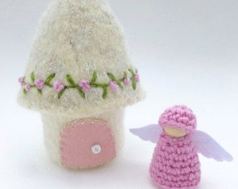 Mini Felted fairy Cottage house ready to ship Waldorf