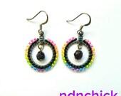 Neon Rainbow Beaded Hoop Earrings