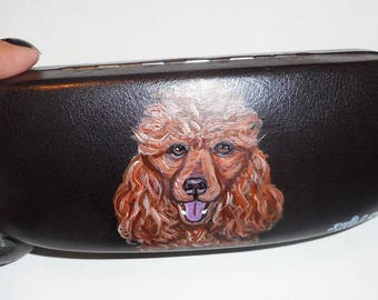 Red Poodle Dog  Hand Painted Eyeglass Case Sunglass Case