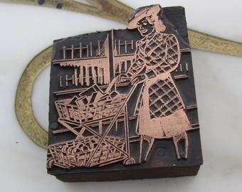 Antique Letterpress Printers Block Woman Grocery Shopping