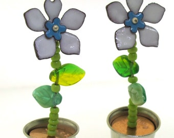 Flower Pot Earrings, Flower Garden, Large Dangle Earrings, Enamel and thimbles, Bloom and Grow by Kathryn Riechert