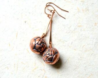 Rose Earrings - Copper Rose Earrings - Garden Inspired - Botanical Jewelry
