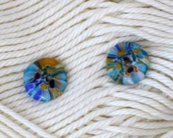 Fused glass post earrings - fused glass striped earrings - circle shape - blue glass - tan glass - murrines fused