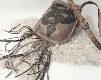 Python Crossbody Bag in Taupe and Olive with Turquoise
