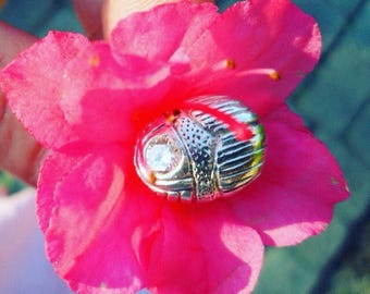 Highly detailed silver scarab bead
