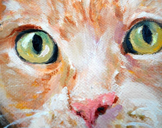 "Orange Cat Portrait Print from my Original Oil Painting, 8"" x 10"""