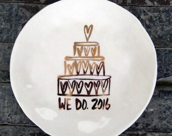 2016 Wedding Dessert Plate w Hearts in Gold (SALE)