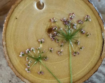 Pressed wild flower pendant Wood Sterling Silver flowers