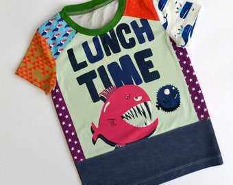 Size 4T (40 inch) Upcycled Boys long sleeve tee shirt lunch time!