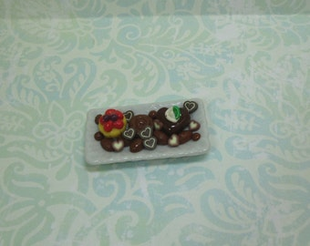 Dollhouse Miniature Porcelain Platter of Sweets