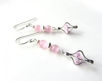 Long Rose Quartz Dangle Earrings, Pink and Silver Quartz Earrings, Pastel Pink Gemstones, Dainty Rose Quartz Lanterns,Jewelry Gift for Her,