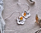 HONEY BEES all sterling silver and baltic amber drop earrings by srgoddess