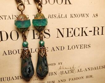 Milky Aqua and Capri Picassso Drop Earrings