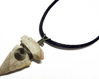 Arrowhead Pendant - Wire Wrapped Wrap Indian Arrowhead Hand Knapped Pendant with Necklace