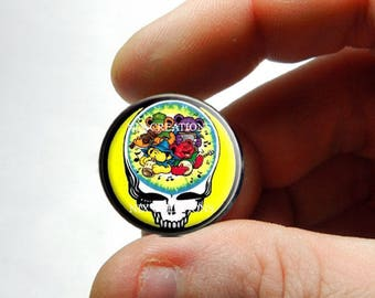 25mm 20mm 16mm 12mm 10mm or 8mm Glass Cabochon - Grateful Dead Steal Face Head Design 21 - for Jewelry and Pendant Making