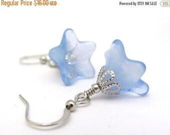 Blue Flower Earrings, Swarovski Crystals, Bridal Jewelry, Bridesmaid Gift, Woodland Rustic Wedding, Antiqued Silver Hawaiian Jewelry
