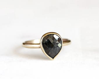 14k rose cut natural black diamond ring, 14k gold ring, engagement ring, solid gold, recycled wedding ring