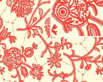Amy Butler LARK Fabric / Souvenier in Ivory  / 1/2 yard Cotton Quilt Apparel Fabric  End of Bolt / Out of Print