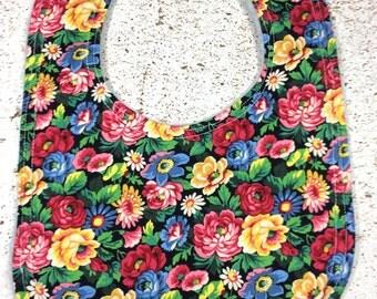 Flowers Baby Bib - infant - dribble bib - baby girl - baby shower gift - handmade