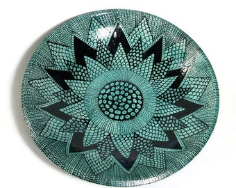 Large Serving Bowl with Doodle Design Turquoise and Black