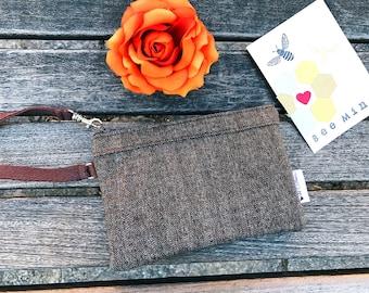 Brown Wool Tweed Wristlet, Wallet Wristlet, iPhone Wristlet, Zipper Wallet, Fabric Pouch