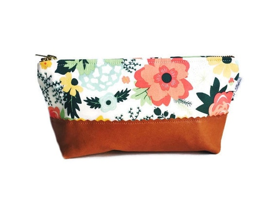 Floral Cream Leather Pouch, Make up Bag, Small Leather Zipper Pouch, Leather Cosmetic Bag, Leather Clutch, Gift for Her