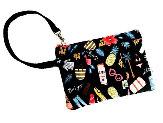 Black Wristlet, Bonjour Small Wristlet Purse, Wallet Wristlet, Cell Phone Wristlet