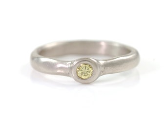 Simplicity Engagement Ring with Yellow Diamond in Palladium/Silver - size 7 - Ready to Ship