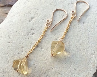 CITRINE nugget earrings faceted Yellow gemstone nugget earrings, 14k gold filled, AngryHairJewelry, handmade artisan earrings