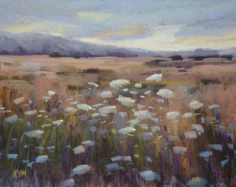 California Landscape Queen Annes Lace  WildflowersOriginal Pastel Painting Karen Margulis 18x24