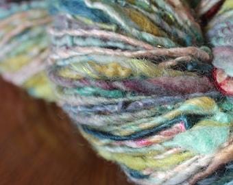 Handspun yarn, art yarn, Merino wool, silk and mohair locks, angelina sparkle, 5.6oz - spring fever