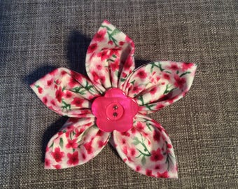 Pink Floral Print Fabric Flower Brooch Pin