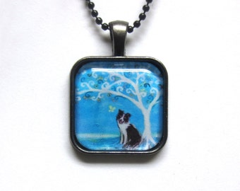 Border Collie spiritual tree of life painting Art Glass Tile Pendant Necklace