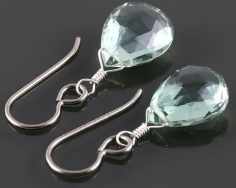 Mint Green Quartz Earrings. Titanium Ear Wires. Single Stone. Wire Wrapped. f16e239
