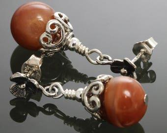 CLEARANCE. Reddish Orange Agate Earrings. Sterling Silver Flower Posts. Genuine Agate. Natural Gemstone. f12e013