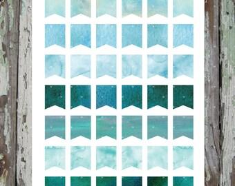 Aqua Watercolor Mini Flags  Planner Stickers